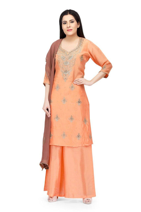 Ready Made Peach Hand Embroidered Silk Salwar Suit With Banarsi Silk Dupatta