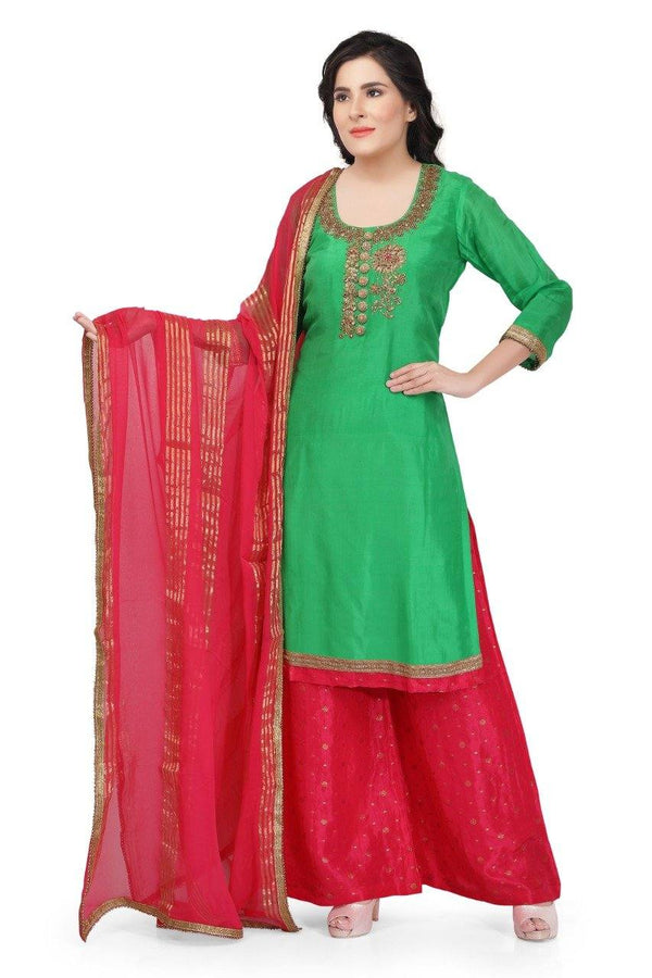 Ready Made Green & Red Hand Embroidered Silk Salwar Suit With Banarsi Silk Dupatta