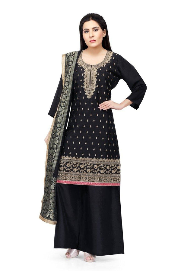 Ready Made Black Hand Embroidered Silk Salwar Suit With Banarsi Silk Dupatta
