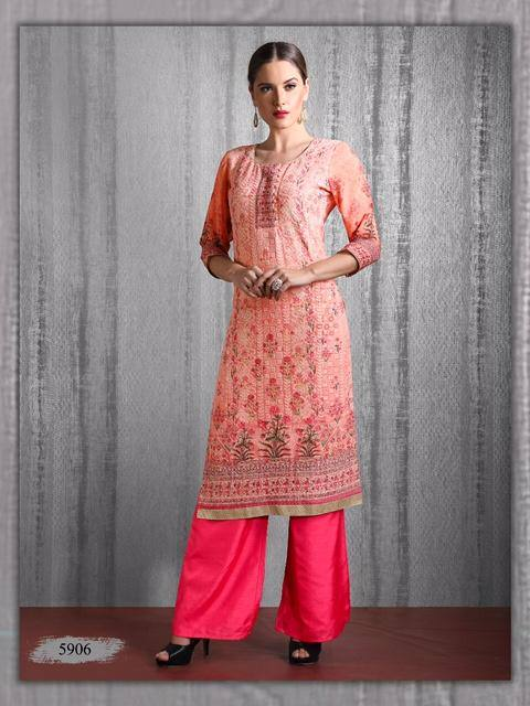 Ready Made Peach Color  Chicken Embroidered Georgette Party Wear Kurta