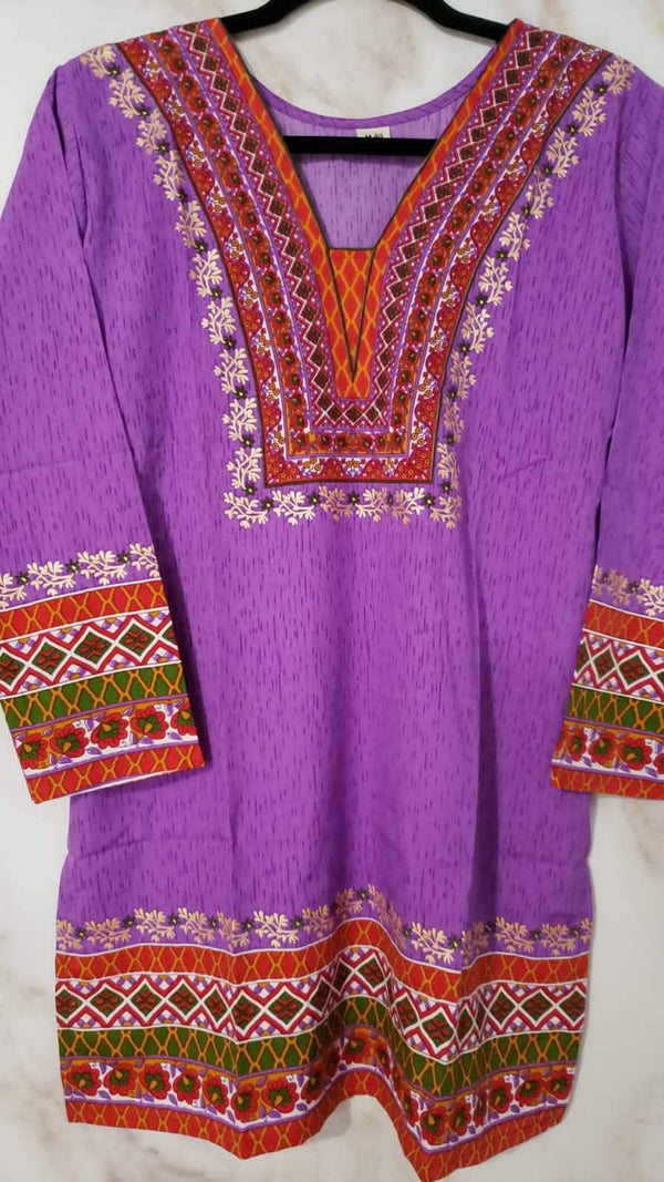 Ready Made Purple Polyester French Crepe Printed  Kurti