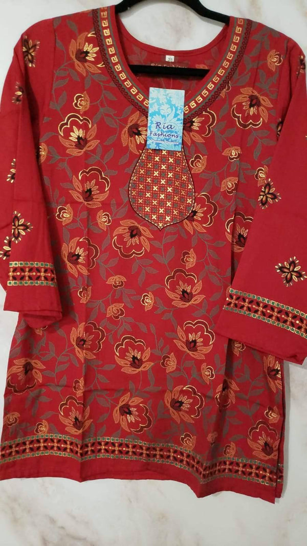 Ready Made Red Polyester French Crepe Printed Kurti