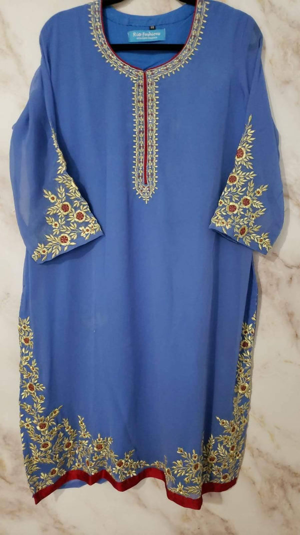 Ready Made Blue Embroidered Kurta
