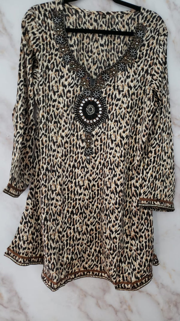 Ready Made Animal Printed Embroidered Kurta