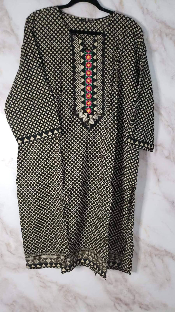 Ready Made Black Embroidered Cotton Kurta