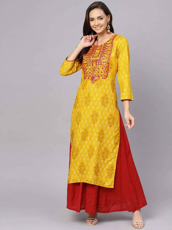 Mustard Yellow & Brown Screen Printed Straight Kurta