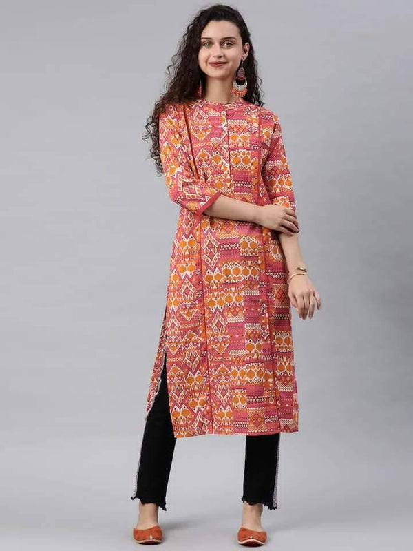 Orange & Pink Printed Straight Kurta