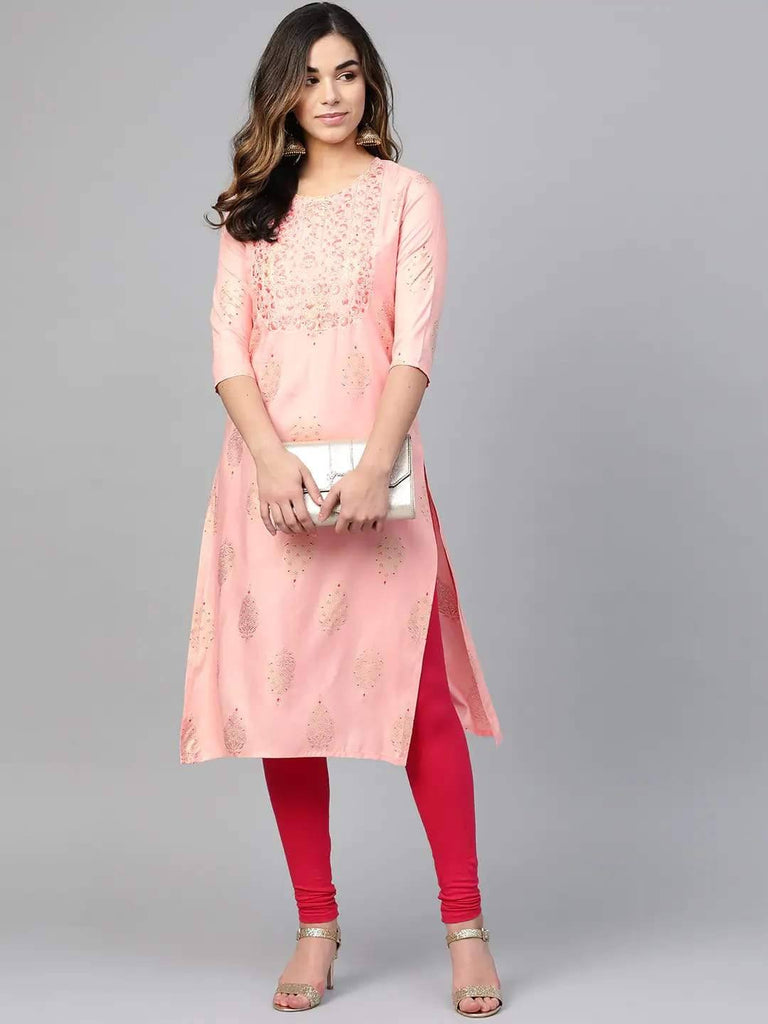Pink & Golden Foil Printed Straight Kurta