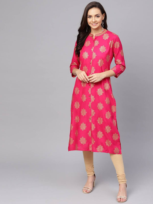 Magenta & Golden Foil Printed Straight Kurta