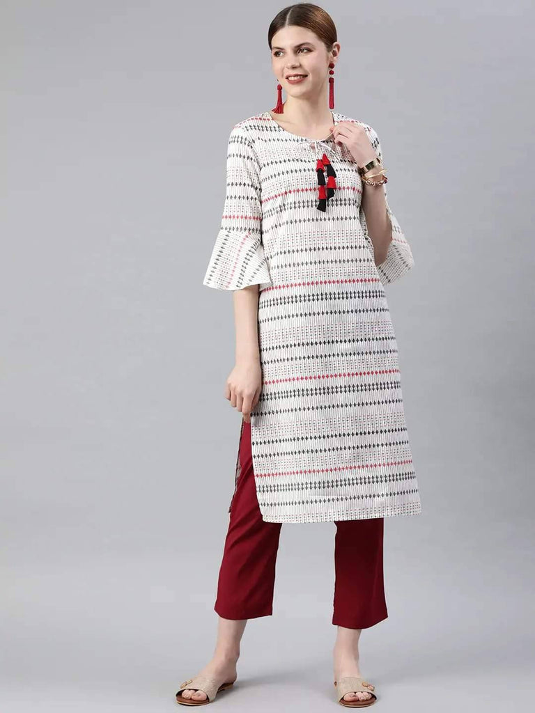 White & Black Striped Straight Kurta