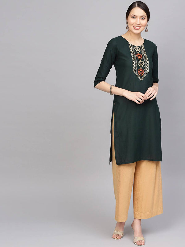 Green & Golden Yoke Design Straight Kurta