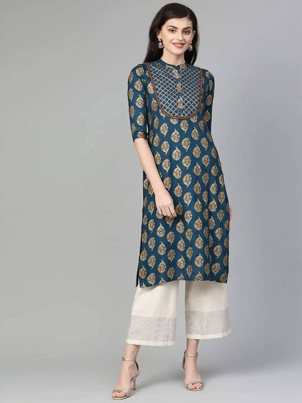 Teal Blue & Golden Foil Print Straight Kurta