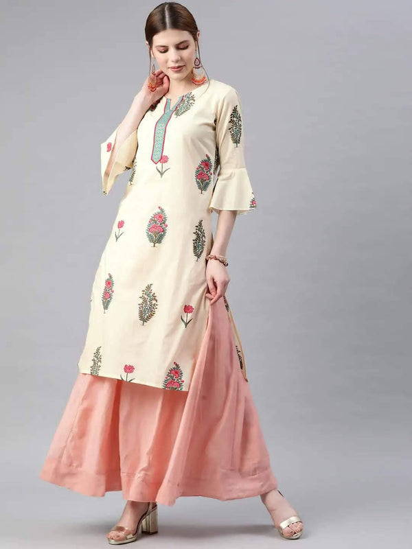 Off-White Printed Straight Kurta