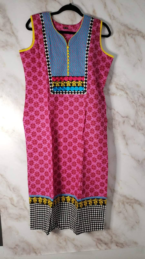 Ready Made Pink Embroidered Cotton Kurta
