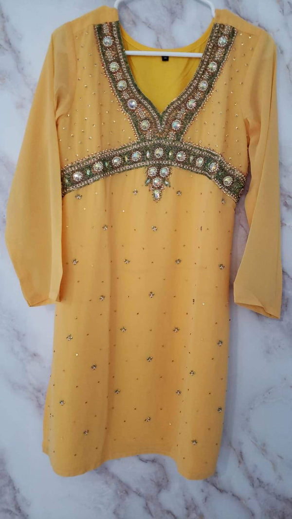 Ready Made Yellow Sequined Georgette Kurti