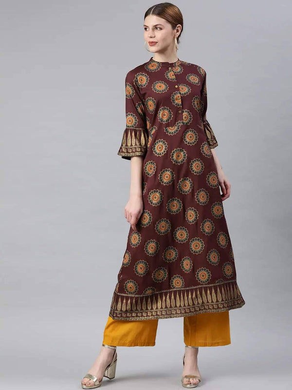 Burgundy & Golden Printed A-Line Kurta