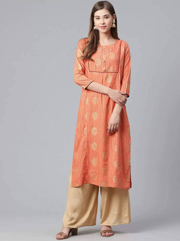 Orange & Golden Printed Straight Kurta