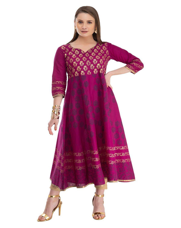Purple Block Print Flared Kurta