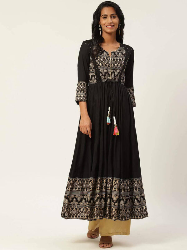 Black & Golden Ethnic Printed Anarkali Kurta