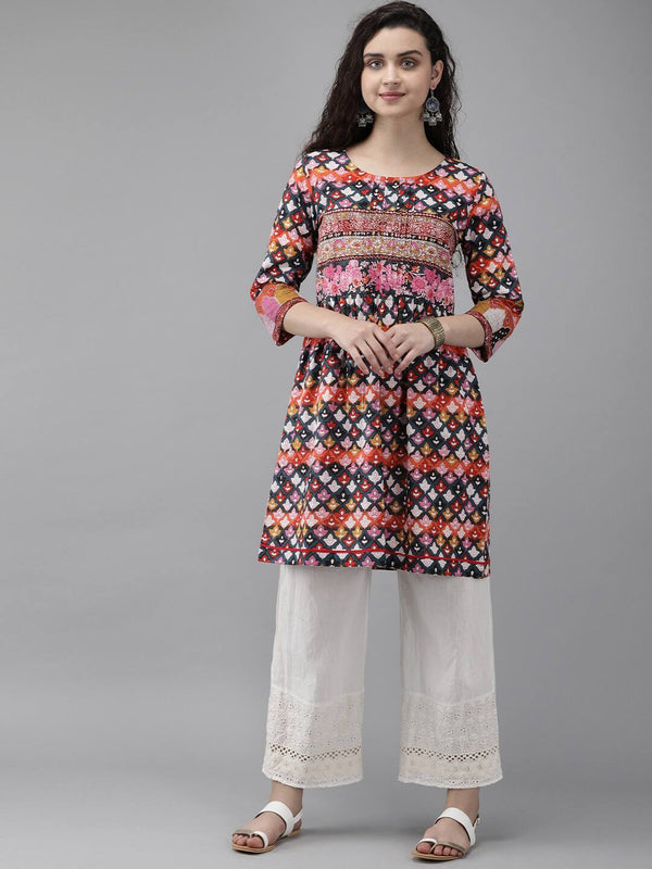 Navy Blue & Pink Printed Tunic With pleated Detail