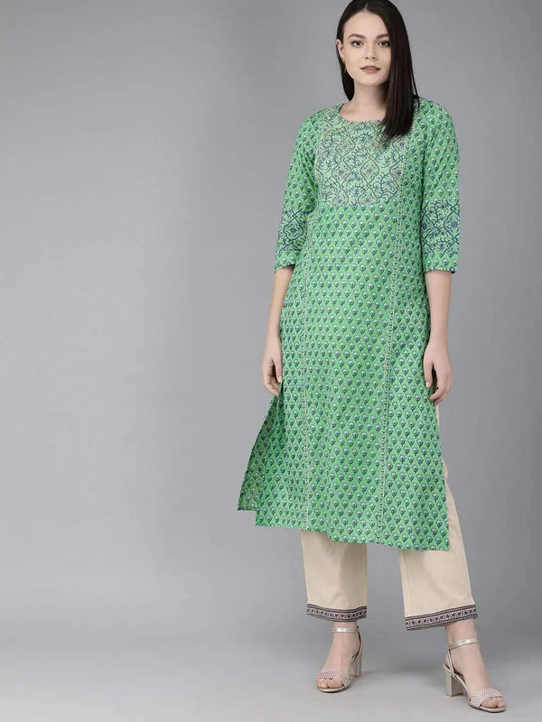Green & Blue Screen Printed Straight Kurta With Embellishment