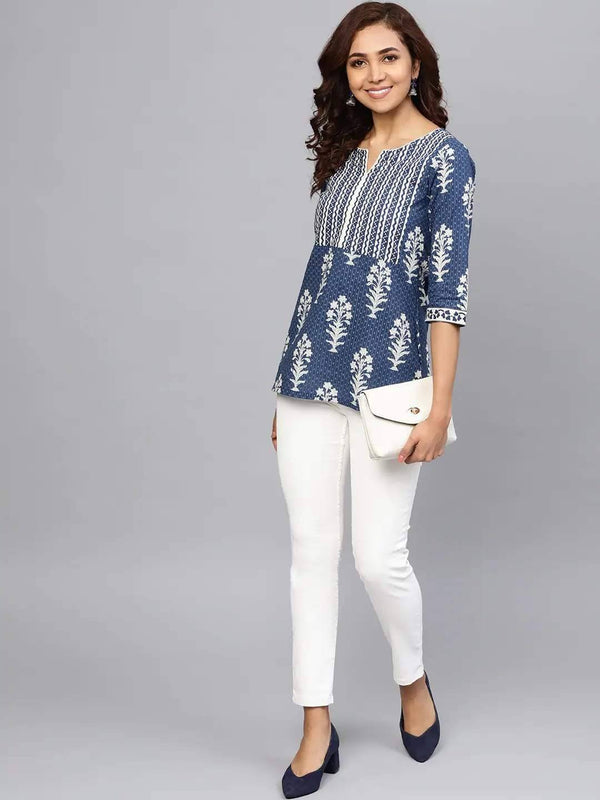 Navy Blue & Off-White Printed A-line Kurti
