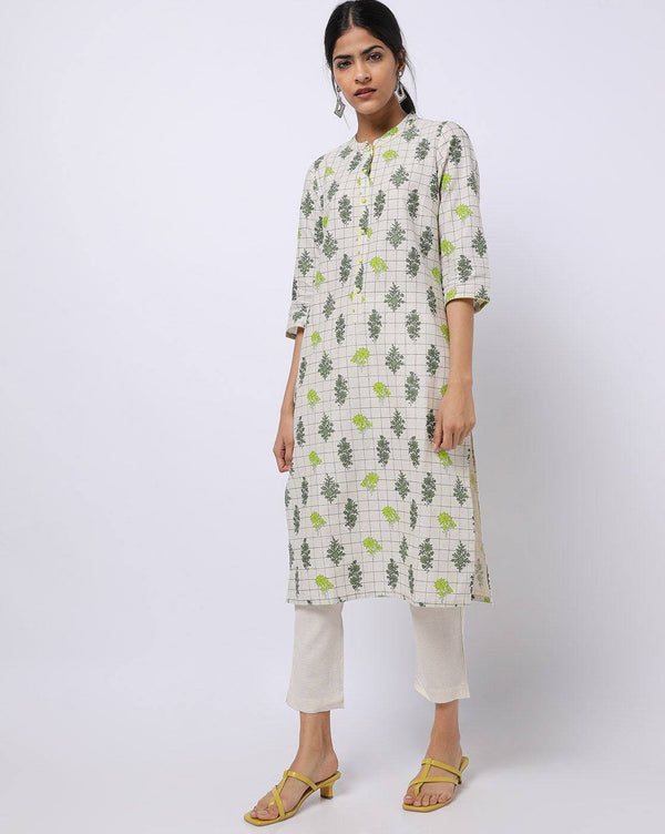 White Printed Straight Kurta