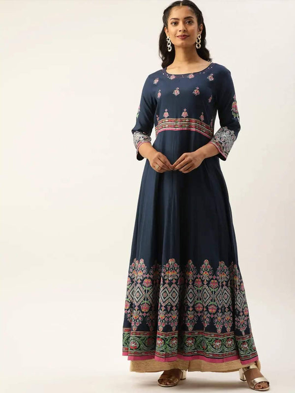 Navy Blue & Pink Printed Anarkali Kurta