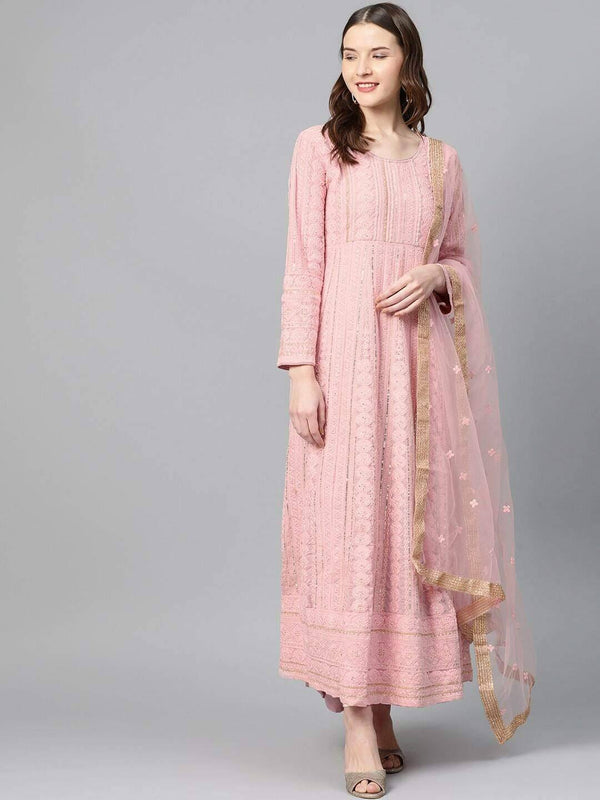 Pink Embroidered Anarkali Kurta with Dupatta