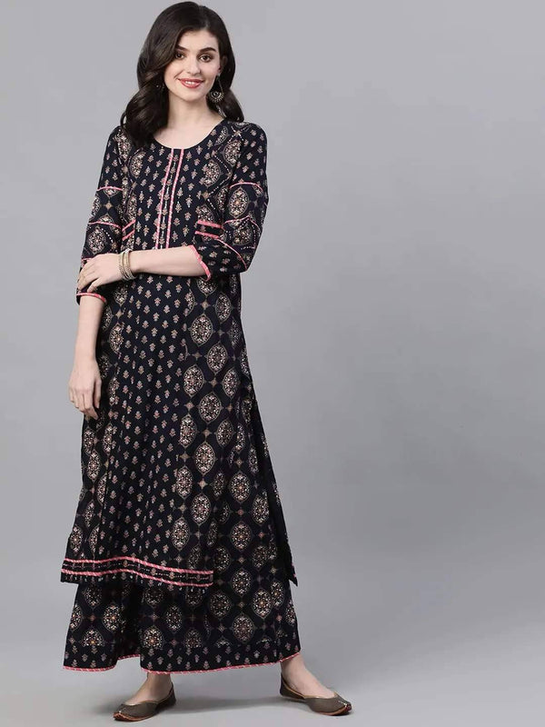 Navy Blue & Golden Ethnic Printed Kurta with Palazzo