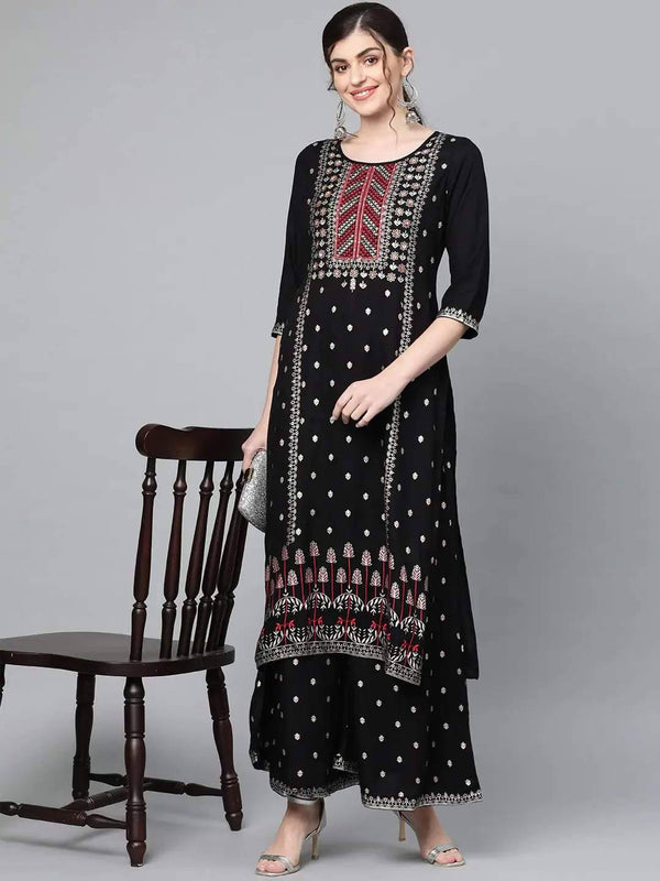 Black & Golden Printed Cotton Rayon Kurta with Palazzo