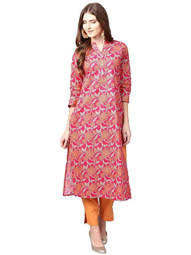 Peach Colour Make To Order Printed Kurti/Tunic