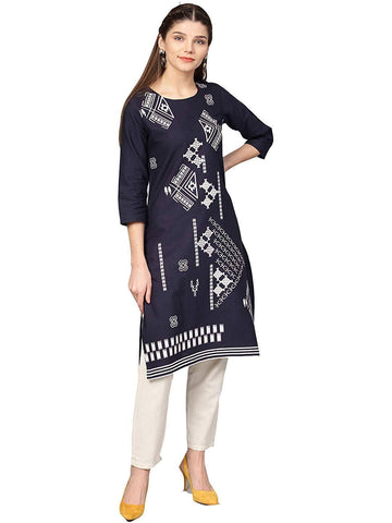 Black Colour Make To Order Printed Kurti/Tunic