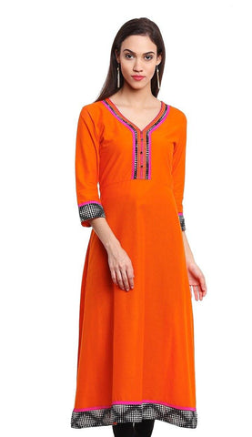 Readymade Orange Color Cotton Kurit