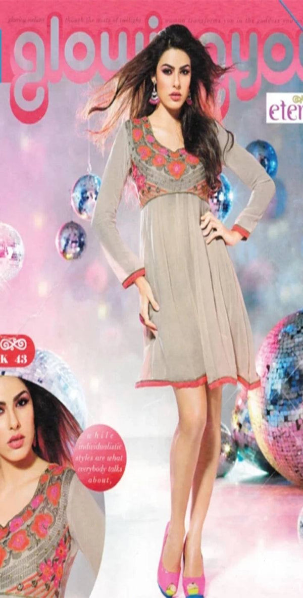Grey Georgette Party Wear Kurti