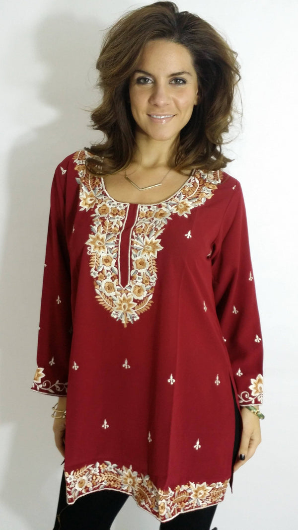 Embroidered Georgette Kurti - www.riafashions.com