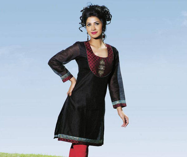 Black Cotton Silk Tunic