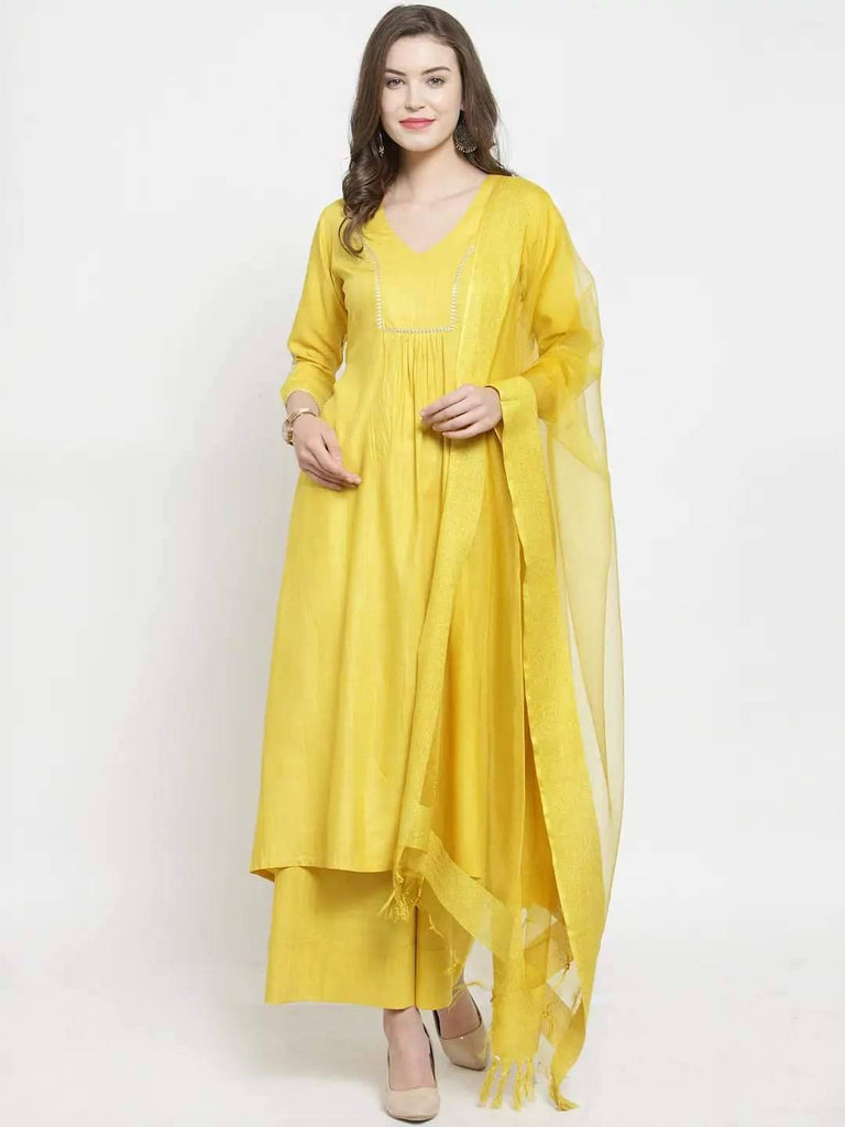 Ready Made Yellow Bhagalpuri Silk Kurta with Palazzo & Dupatta