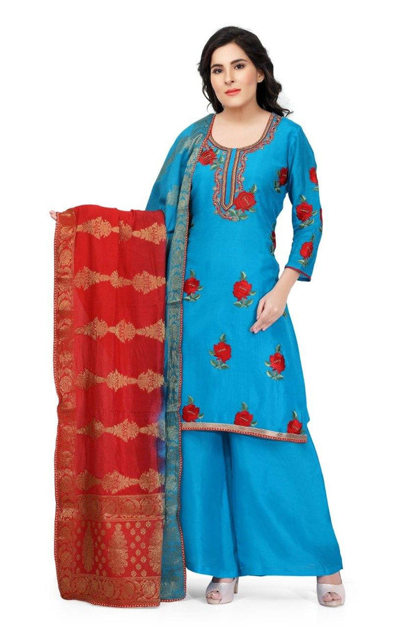 Ready Made Royal Blue Hand Embroidered Silk Salwar Suit With Banarsi Silk Dupatta