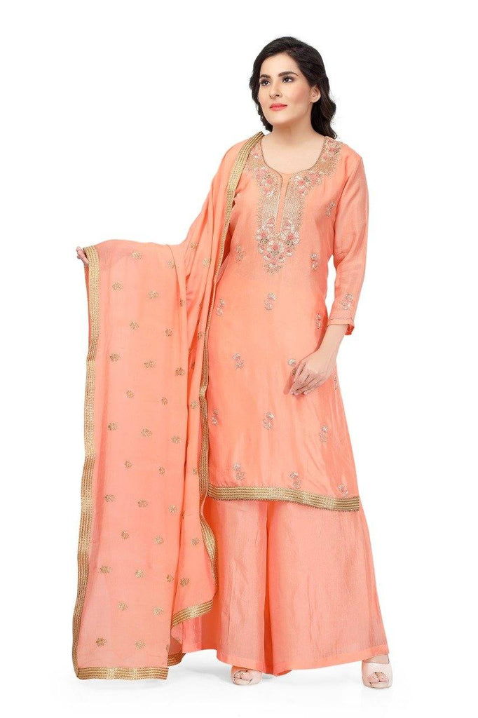 Ready Made Peach Hand Embroidered Silk Suit With Banarsi Silk Dupatta