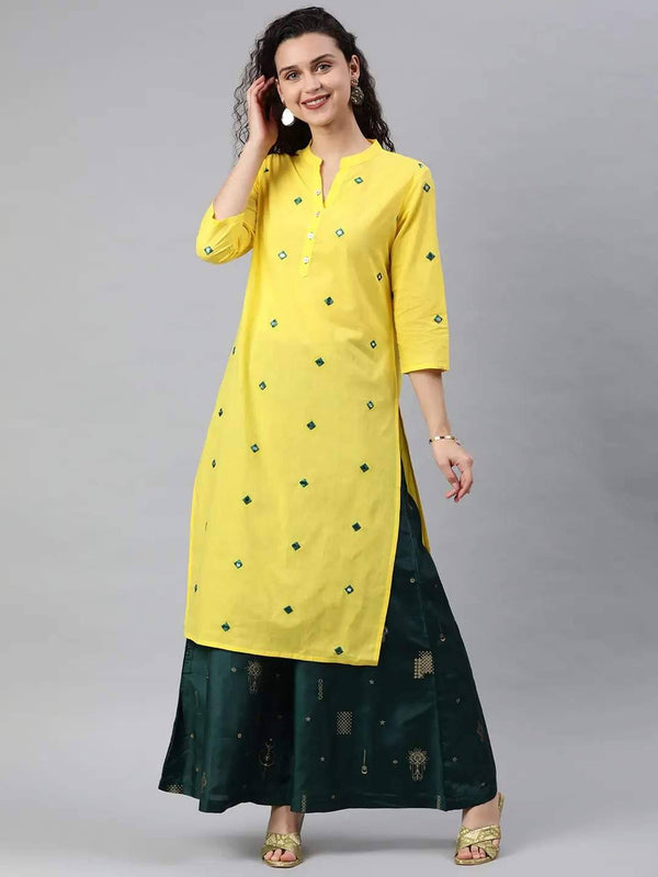 Yellow Embellished Straight Kurta