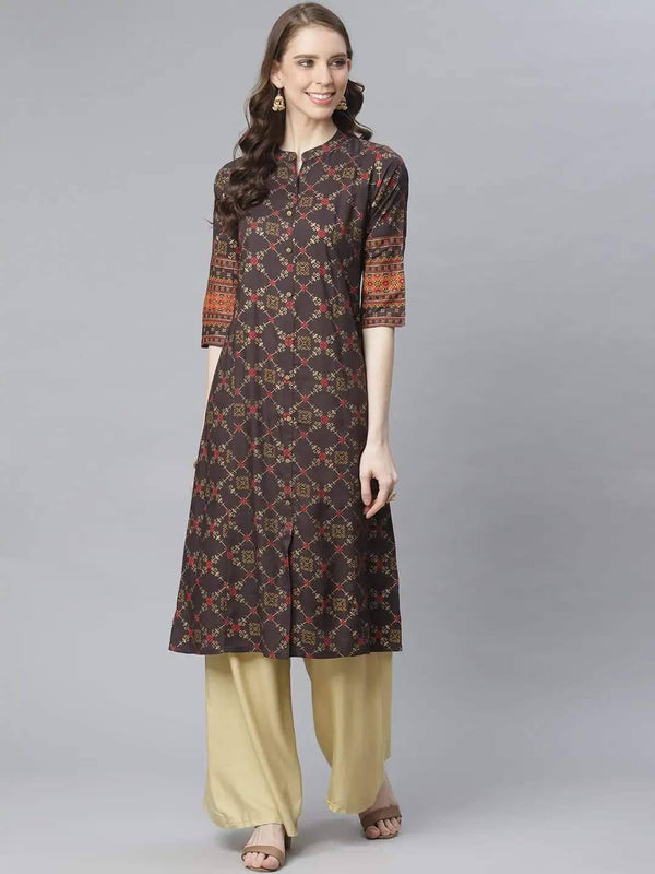 Coffee Brown & Golden Foil Print A-Line Kurta - www.riafashions.com