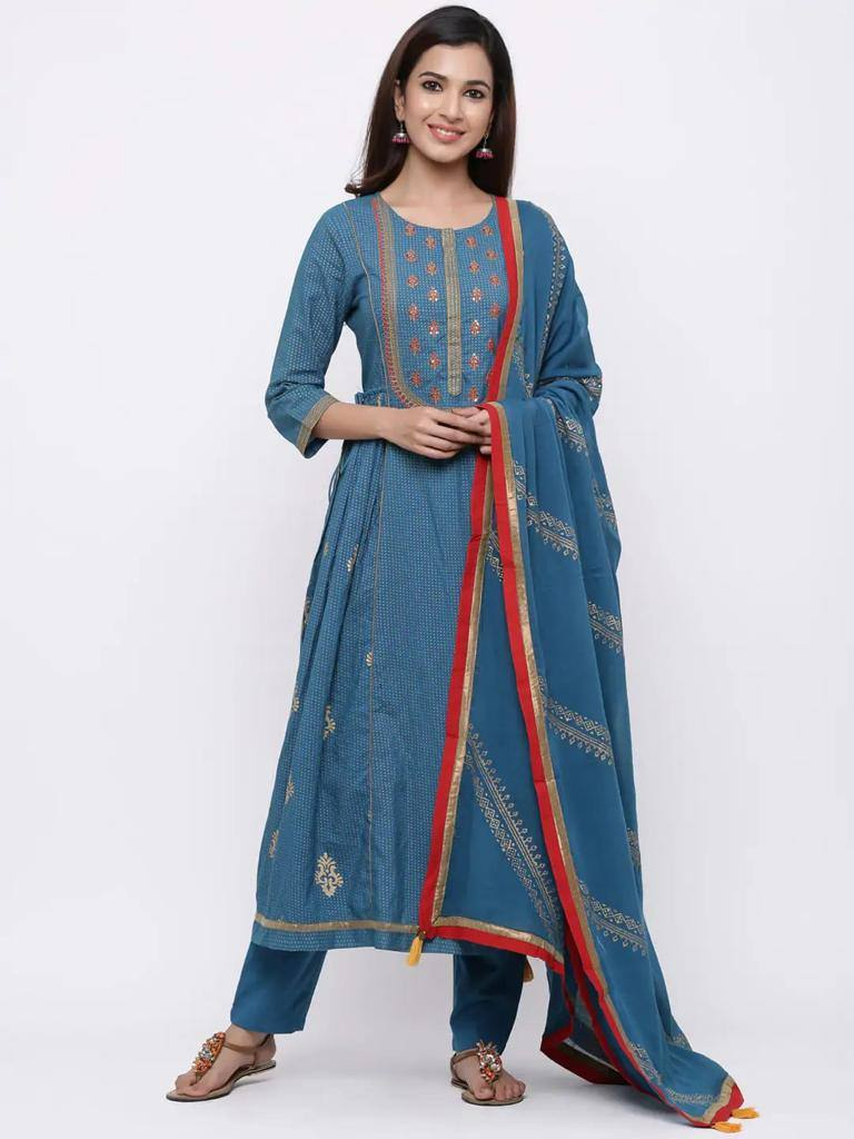 Teal Blue Printed Kurta with Trousers & Dupatta