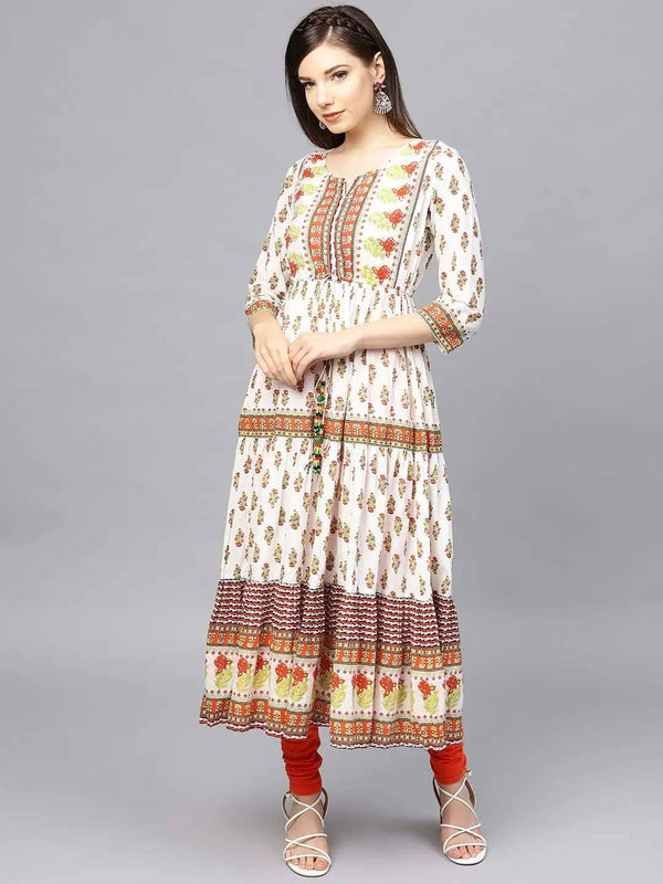 Off-White & Yellow Floral Printed Tiered Anarkali Kurta