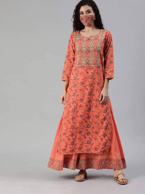 Orange & Grey Printed Sequinned Kurta with Palazzo & Matching Mask Online - RiaFashions