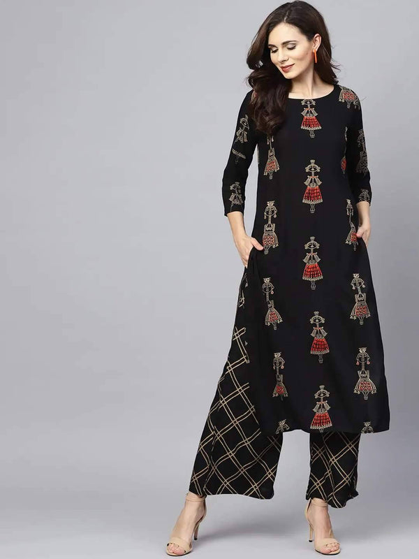 Black & Gold-Toned Printed Kurta with Palazzo Online - RiaFashions