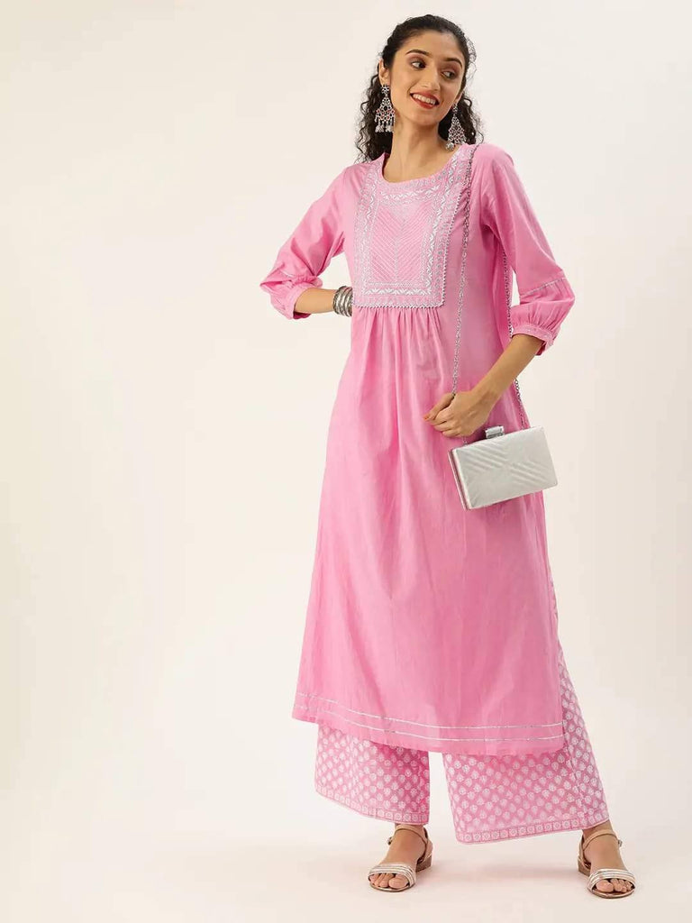 Pink & White Zari Yoke Design Kurta with Palazzo