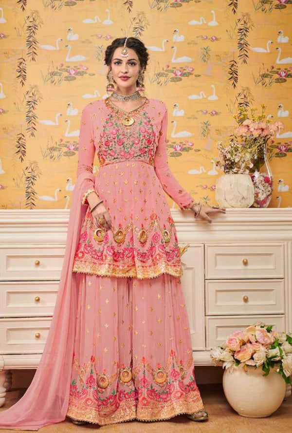 Pink Embroidered Georgette Short Kurta With Sharara, Dupatta