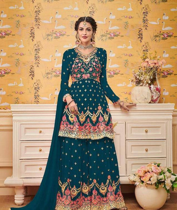 Heavy Embroidered Georgette Teal Blue Short Kurta With Sharara, Dupatta