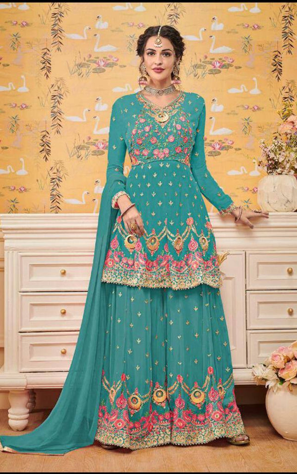 Sea Green Embroidered Georgette Short Kurta With Sharara, Dupatta